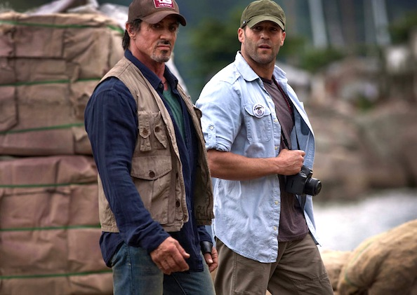 Sylvester Stallone (left) and Jason Statham star in THE EXPENDABLES.  Photo credit: Karen Ballard