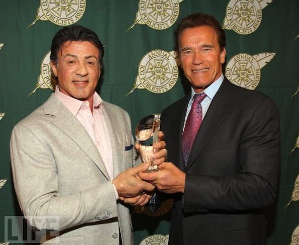 Arnold presents award to Sly