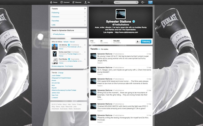 Sly's Twitter page